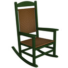 POLYWOOD R200FGRTW Tigerwood Presidential Woven Rocking Chair with Green Frame