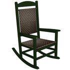 POLYWOOD R200FGRCA Cahaba Presidential Woven Rocking Chair with Green Frame