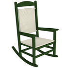POLYWOOD R200FGRWL White Loom Presidential Woven Rocking Chair with Green Frame