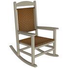 POLYWOOD R200FSATW Tigerwood Presidential Woven Rocking Chair with Sand Frame