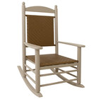 POLYWOOD K147FSATW Tigerwood Jefferson Woven Rocking Chair with Sand Frame