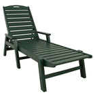 POLYWOOD NCC2280GR Green Nautical Folding Adjustable Chaise with Arms