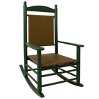 POLYWOOD K147FGRTW Tigerwood Jefferson Woven Rocking Chair with Green Frame