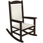 POLYWOOD R200FMAWL White Loom Presidential Woven Rocking Chair with Mahogany Frame