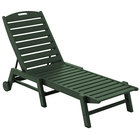 POLYWOOD NAW2280GR Green Nautical Folding Adjustable Chaise with Wheels