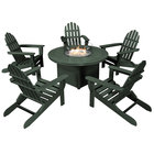 """POLYWOOD PWS414-1-GR Green 48"""" Round Fire Pit Table with 5 Classic Folding Adirondack Chairs"""