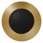 RAK Porcelain MFEVFP33GB Metal Fusion 13 inch Gold / Black Porcelain Embossed Flat Plate - 6/Case