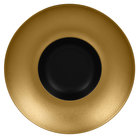 RAK Porcelain MFFDGD26GB Metal Fusion 10 1/4 inch Gold / Black Porcelain Gourmet Deep Plate - 6/Case