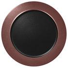 RAK Porcelain MFNOFP32BB Metal Fusion 12 5/8 inch Bronze / Black Porcelain Flat Plate with Rim - 6/Case