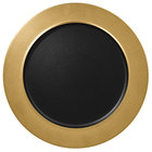 RAK Porcelain MFNOFP32GB Metal Fusion 12 5/8 inch Gold / Black Porcelain Flat Plate with Rim - 6/Case