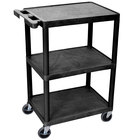 Luxor HE34-B Black Three Shelf Utility Cart - 24 inch x 18 inch x 34 inch