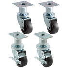 Pitco Equivalent 3 inch Swivel Adjustable Height Plate Casters for Fryers - 4/Set