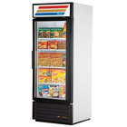 True GDM-26F-LD White Glass Door Merchandiser Freezer with LED Lighting - 26 Cu. Ft.