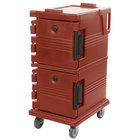 Cambro UPC600402 Ultra Camcarts® Brick Red Insulated Food Pan Carrier - Holds 8 Pans