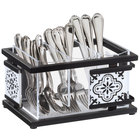 Cal-Mil 4032-85 Granada 3 Compartment Flatware Organizer with Melamine Tile - 9 1/2 inch x 6 3/4 inch x 5 1/2 inch