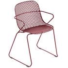 Grosfillex US136712 Ramatuelle '73 Rouge Bossa Nova Stackable Indoor / Outdoor Armchair