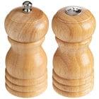 Choice 4 inch Matte Natural Wooden Salt Shaker and Pepper Mill Set