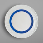 Schonwald 9181826-62971 Donna Senior 10 1/4 inch White and Dark Blue Porcelain Special Rim Plate - 6/Case