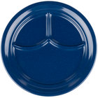 Carlisle 4351435 Dallas Ware 9 3/4 inch Cafe Blue 3-Compartment Melamine Plate - 36/Case