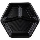 Genpak HX013-3L Smart-Set 10 inch Black Hexagonal 3 Compartment Foam Serving Tray - 200/Case