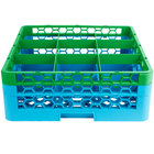 Carlisle RG9-2C413 OptiClean 9 Compartment Green Color-Coded Glass Rack with 2 Extenders