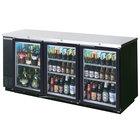 Beverage Air BB72GY-1-BK-LED-WINE 72 inch Black Back Bar Wine Series Refrigerator - Narrow Depth, 3 Glass Doors