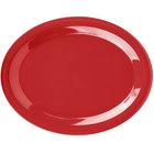 Carlisle 3308005 Sierrus 13 1/2 inch x 10 1/2 inch Red Oval Melamine Platter - 12/Case