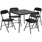 Flash Furniture JB-1-GG 33 1/2 inch x 33 1/2 inch x 27 3/4 inch Black Folding Card Table Set with 4 Chairs