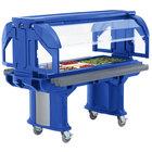 Cambro VBRHD5186 Navy Blue 5' Versa Food / Salad Bar with Heavy Duty Casters