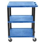 Luxor WT34BUS Tuffy Blue Three Shelf Utility Cart - 24 inch x 18 inch x 34 inch