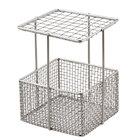 American Metalcraft STWBSKT 4 inch x 4 inch x 6 3/4 inch Stainless Steel Reusable Straw Storage Basket