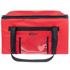 Sterno 70575 SpeedHeat™ Red Leak-Proof Insulated Food Pan Carrier / Catering Delivery Bag, 23 inch x 15 inch x 13 1/2 inch - Holds (6) Half Size Food Pans