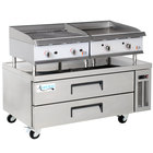 Cooking Performance Group 24GTCLBNL 24 inch Heavy-Duty Gas Griddle and Gas Lava Briquette Charbroiler with 2 Drawer Refrigerated Chef Base - 140,000 BTU