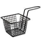 Choice 4 inch x 4 inch x 3 inch Black Square Mini Fry Basket