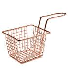 Choice 4 inch x 3 inch x 3 inch Rose Gold Rectangular Mini Fry Basket