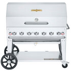 Crown Verity CV-MCB-48-SI50/100-RDP Liquid Propane 48 inch Mobile Outdoor Grill with Single Gas Connection, 50-100 lb. Tank Capacity, and Roll Dome Package