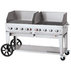 Crown Verity CV-MCB-60-SI50/100-WGP Liquid Propane 60 inch Mobile Outdoor Grill with Single Gas Connection, 50-100 lb. Tank Capacity, and Wind Guard Package