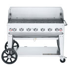 Crown Verity CV-MCB-48-SI-BULK-WGP Liquid Propane 48 inch Mobile Outdoor Grill with Single Gas Connection, Bulk Tank Capacity, and Wind Guard Package