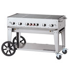 Crown Verity CV-MCB-48-SI-BULK Liquid Propane 48 inch Mobile Outdoor Grill with Single Gas Connection and Bulk Tank Capacity