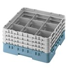 Cambro 9S958414 Teal Camrack Customizable 9 Compartment 10 1/8 inch Glass Rack