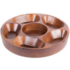 5 Compartment Carved Wooden Pu Pu Platter 12