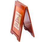 Wooden Wet Floor Sign with Mahogany Finish - 24