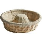 Matfer Bourgeat 118521 11 3/4 inch Crown-Shaped Linen-Lined Wicker Round Banneton Proofing Basket