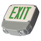 Lavex Industrial Single Face Wet Location White LED Exit Sign / Emergency Light Combination with Green Lettering and Battery Backup