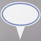 Oval Write-On Deli Sign Spear with Blue Checkered Border - 25/Pack