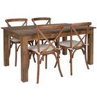 Flash Furniture XA-FARM-18-GG Hercules 38 inch x 60 inch x 30 inch Antique Rustic Solid Pine Folding Farm Table with 4 Cross Back Chairs and Cushions