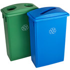 Lavex Janitorial 23 Gallon Slim Recycle Station with Green Bottle / Can and Blue Paper Lids