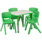 Flash Furniture YU-YCY-098-0034-RECT-TBL-GREEN-GG 21 7/8 inch x 26 5/8 inch Green Plastic Rectangular Adjustable Height Activity Table with Four Chairs