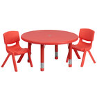 Flash Furniture YU-YCX-0073-2-ROUND-TBL-RED-R-GG 33 inch Red Plastic Round Adjustable Height Activity Table with Two Chairs