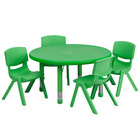 Flash Furniture YU-YCX-0073-2-ROUND-TBL-GREEN-E-GG 33 inch Green Plastic Round Adjustable Height Activity Table with Four Chairs